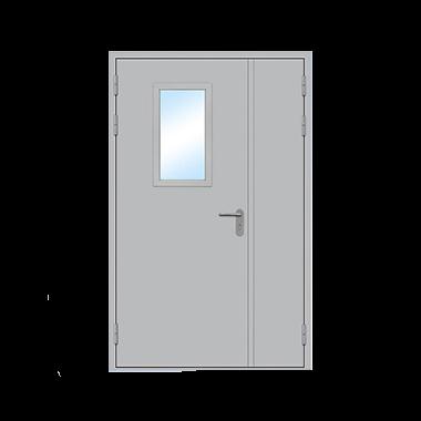 Дверь металлическая техническая с остеклением стандартная двухстворчатая