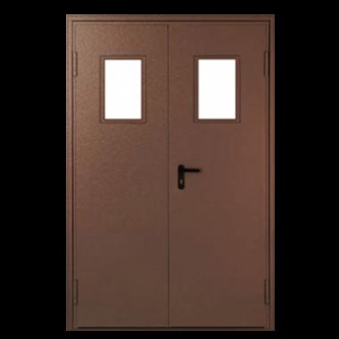 Дверь металлическая техническая с остеклением нестандартная двухстворчатая 2400 Х 1590