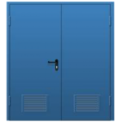 Дверь металлическая техническая нестандартная двухстворчатая с вентиляционной решеткой