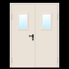 Дверь металлическая техническая с остеклением нестандартная двухстворчатая 2410-2520 Х 1600-1760